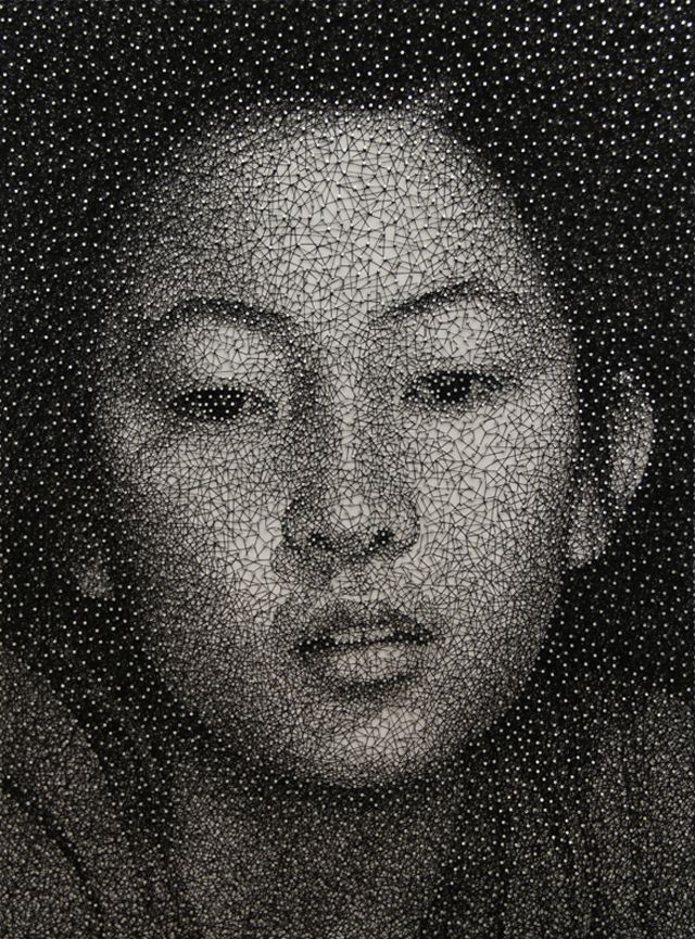 Japanese artist Kumi Yamashita is back with a beautiful new piece, called Sachi, in her ongoing Constellation series. Taking roughly four months to complete, Yamashita wrapped one long piece of black thread around hundreds of nails until she created a photorealistic portrait of a woman. Because each of these works takes so long to complete, Yamashita only makes a few of them each year.