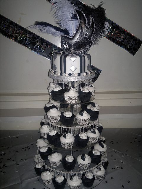 black white and silver masquerade 21st birthday cake and cupcakes flickr photo sharing
