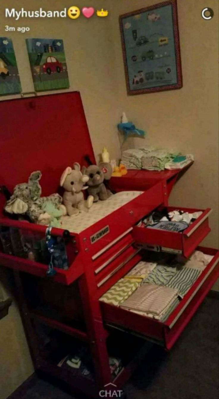 a changing table made from a tool box for a car themed nursery