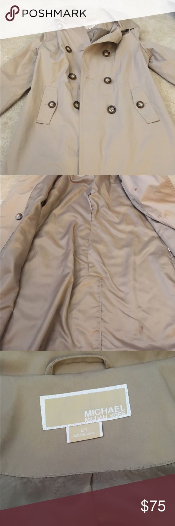 Michael Kors Hooded Raincoat Never worn. Small flaw on bottom right interior. Double breasted. MICHAEL Michael Kors Jackets & Coats Trench Coats