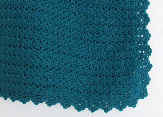 Teal Throw Handmade Crochet Home Decor by knitwhats on Etsy