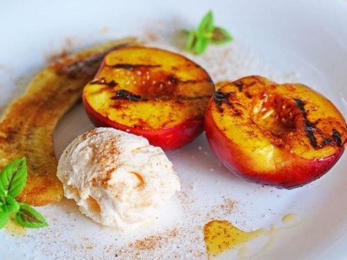 Grilled peaches and bananas recipe