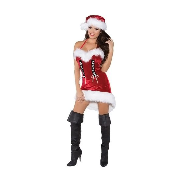 Women's Underwraps Halloween Costume Miss santa Adult M ($36) ❤ liked on Polyvore featuring costumes, red, adult women costumes, womens santa costume, red costume, adult santa costume and miss santa claus costume