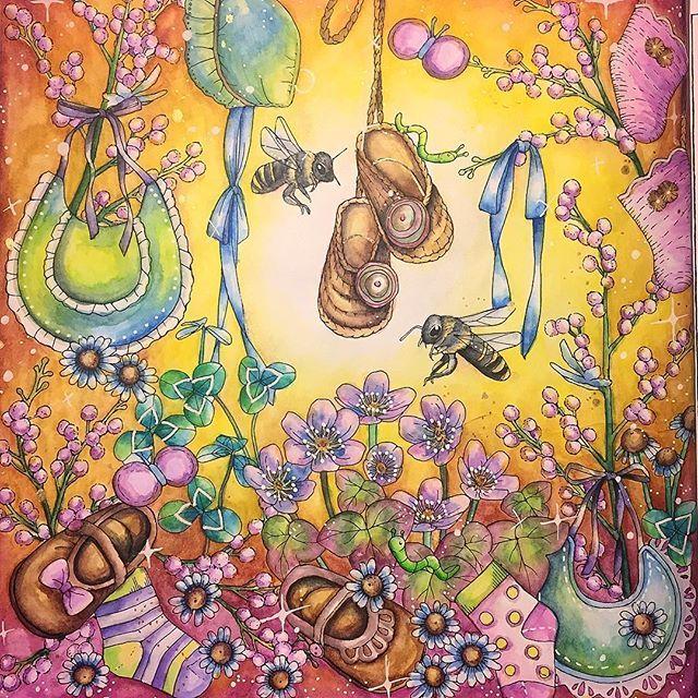 Bumbling around. Book is Menuet De Bonheur by @kanokoegusa #menuetdebonheur #menuetdebonheurcoloringbook #kanokoegusa #egusakanoko #幸せのメヌエット #大人の塗り絵 #inktense #posca