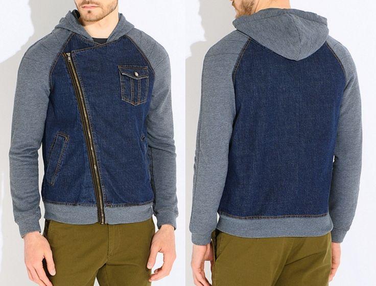 Men's Hooded Jeans Zip Up Punk Lapel Jacket            Джинсовая мужская куртка с капюшоном с воротом - косухой, на молнии до низа.