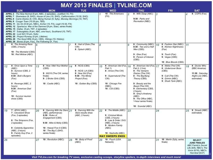 Season Finale Calendar 2013
