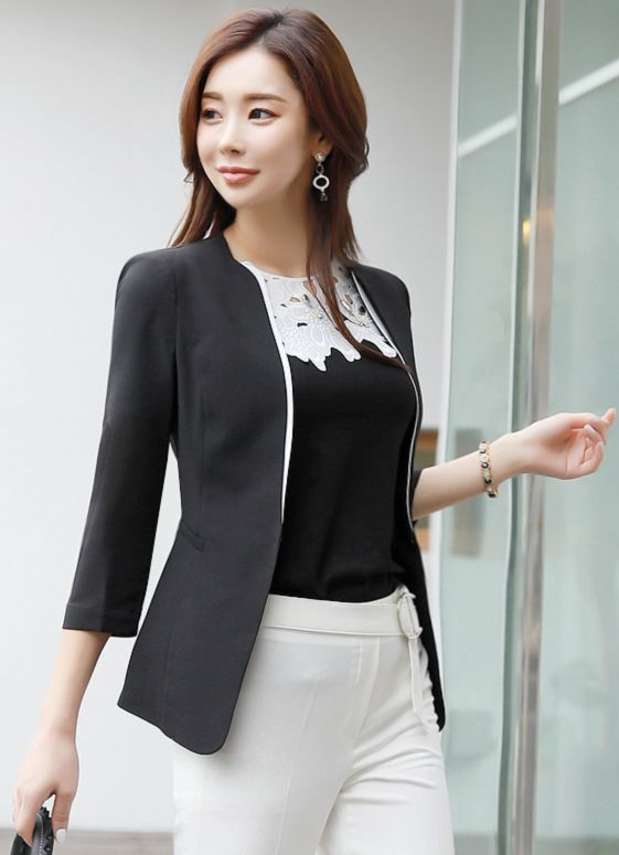 StyleOnme_Contrast Color Trim Quarter Sleeve Jacket #black #white #officelook #jacket #blazer #koreanfashion #kstyle #kfashion #springtrend