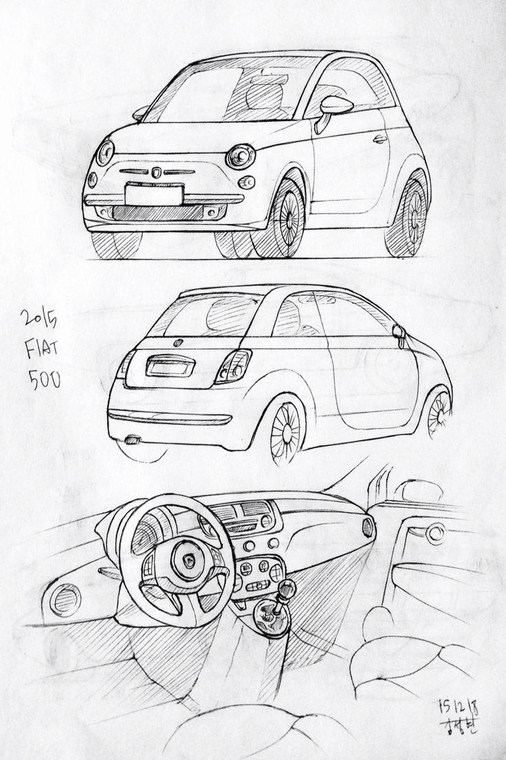 Car drawing 151218  2015 Fiat 500 Prisma on paper.  Kim.J.H