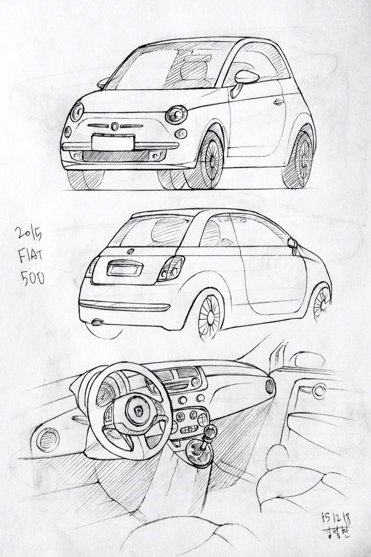 Car drawing 151218  2015 Fiat 500 Prisma on paper.  Kim.J.H