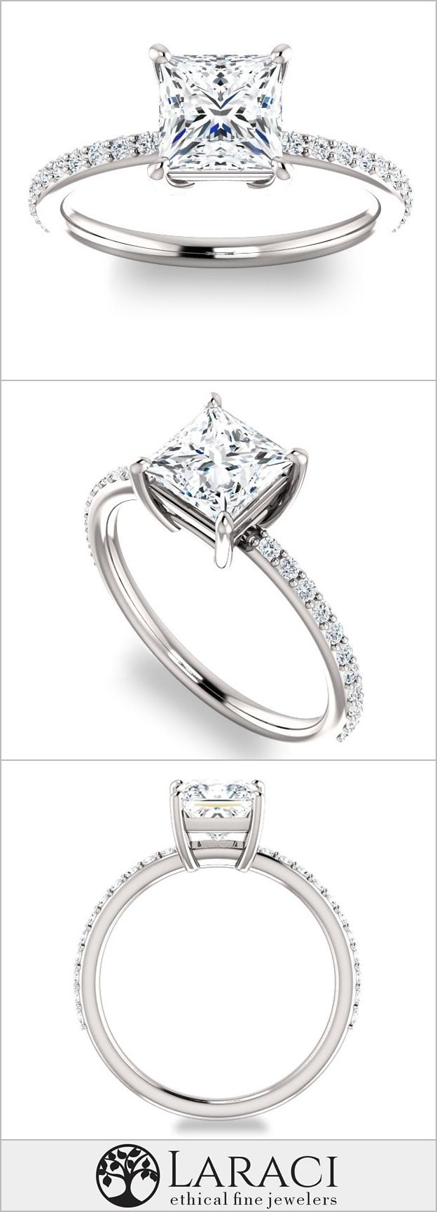 14k White Gold Petite Engagement Ring With Side Gems Set With A 09ct  (55mm) Princess Forever Brilliant Moissanite