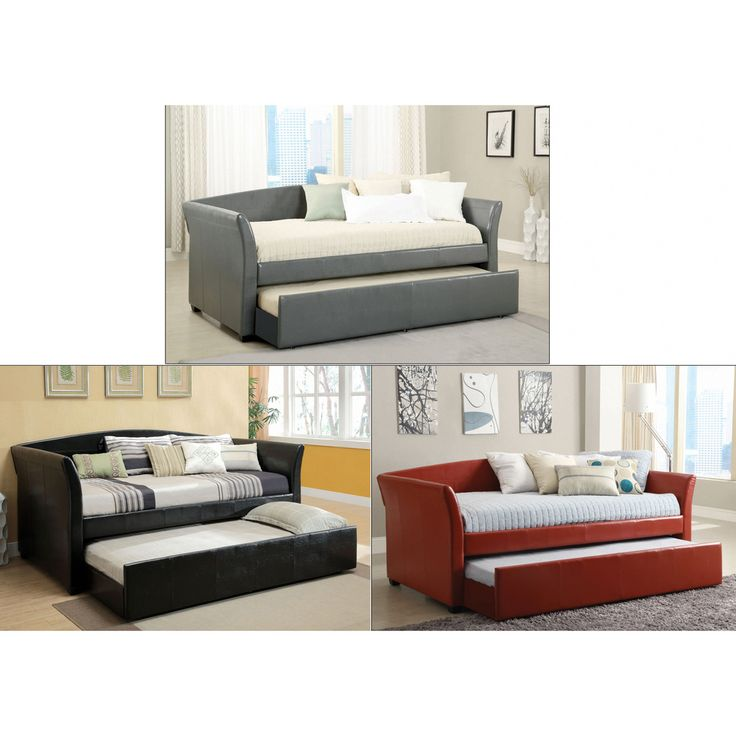 Furniture of America Buckies Contemporary Leatherette Day Bed with Rolling  with Trundle   Overstock com. 108 best Furniture  Daybeds  Beds images on Pinterest   Daybed