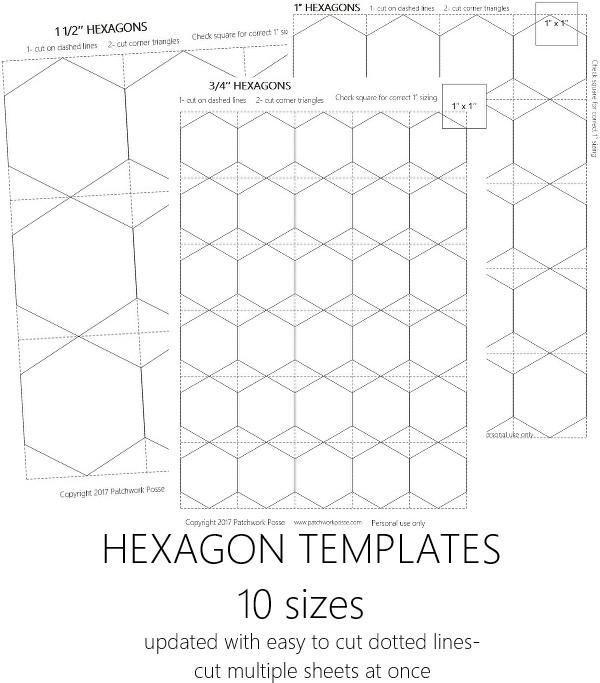 Half Hexagon Template Hexie Template Hexagon Quilt Pattern Hexagon Quilt