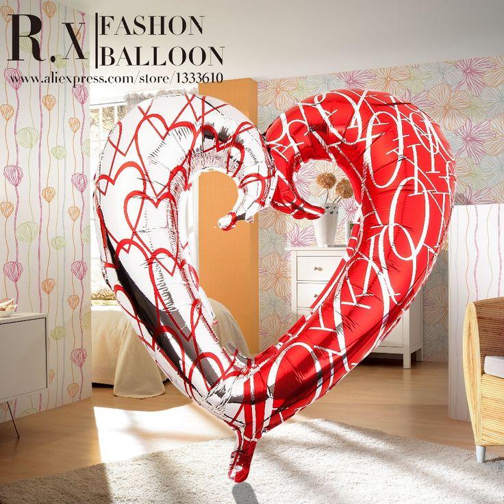 Метровый двухцветный  фольгированный шар в форме сердца  на свадьбу, день рождения , вечеринку купить на AliExpress