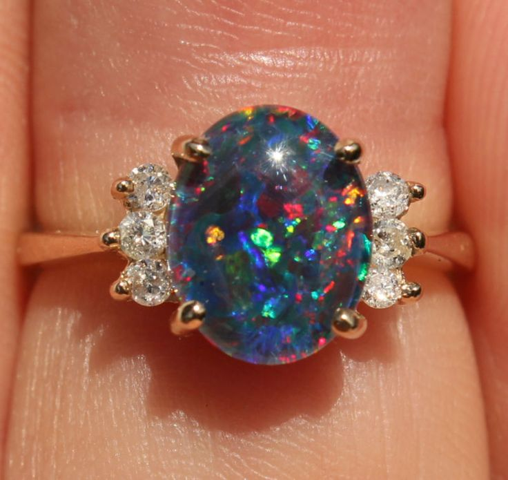 GORGEOUS 14K AUSTRALIAN BLACK OPAL & DIAMOND RING VOLCANO COLORS!