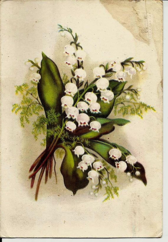 Lily of the Valley Flowers Landysh Vintage Russian by LucyMarket