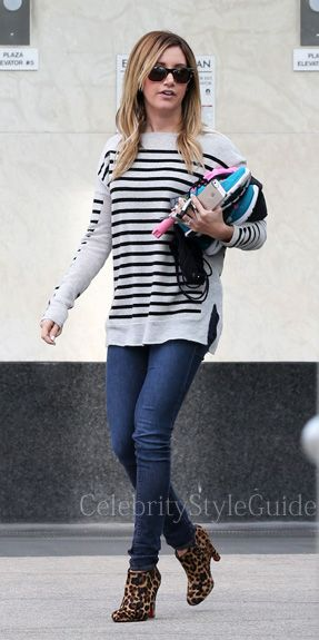 Seen on Celebrity Style Guide: 'Scary Movie 5' actress Ashley Tisdale wore this grey striped cashmere sweater leaving the gym with a friend on February 4  Get It Here: http://rstyle.me/n/e6j8emxbn