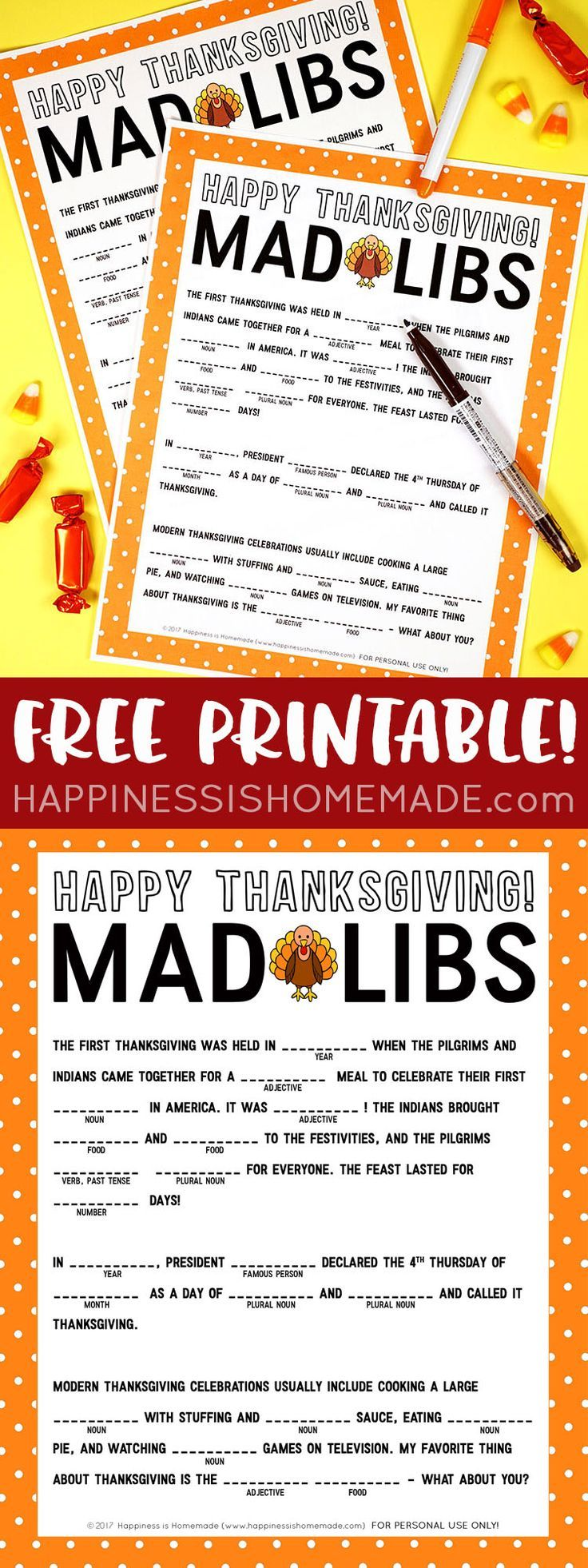 Thanksgiving Mad Libs Printable - This silly printable Thanksgiving Mad Libs game is perfect for keeping the kids entertained while the turkey finishes cooking!