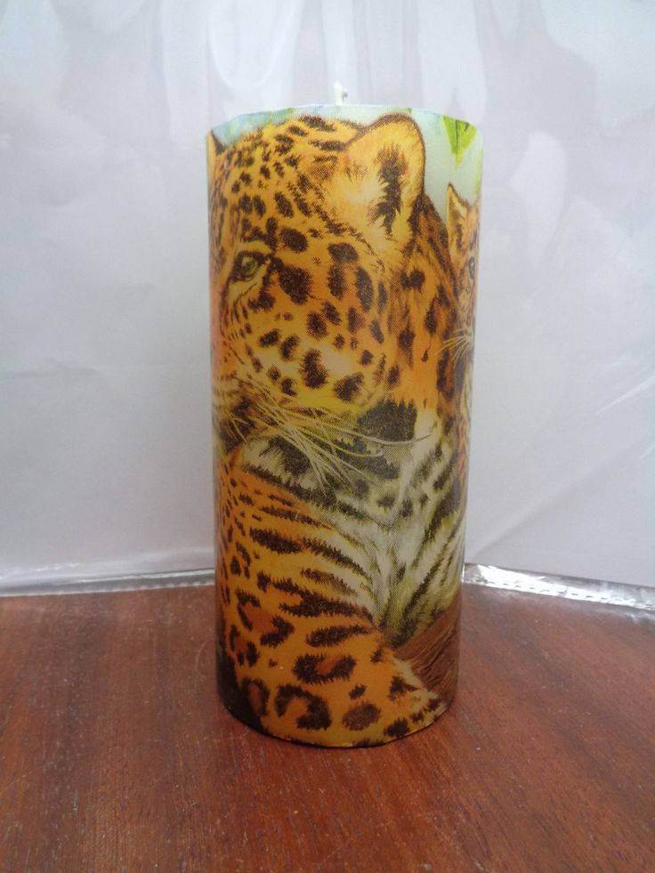 leopard candle by CANDLEMANDAN on Etsy