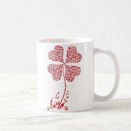 Lucky Four Leaf Clover Heart Valentine Flower Coffee Mug - flowers floral flower design unique style