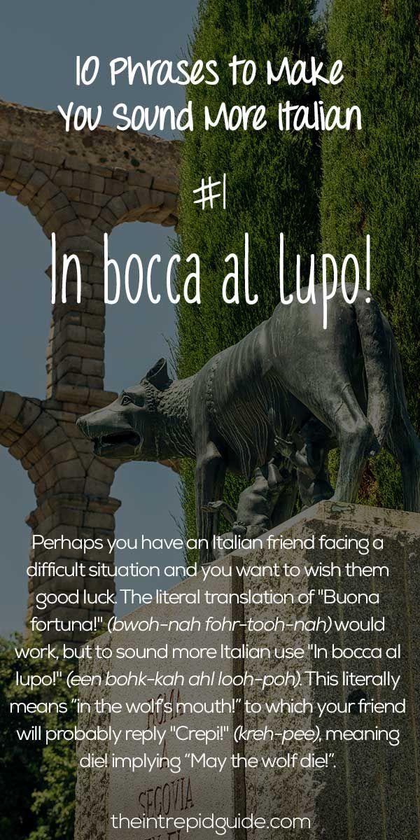 Italian Phrases In bocca al lupo