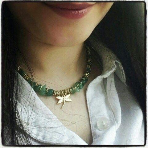 Takı tasarım kolye yeşil doğaltaş