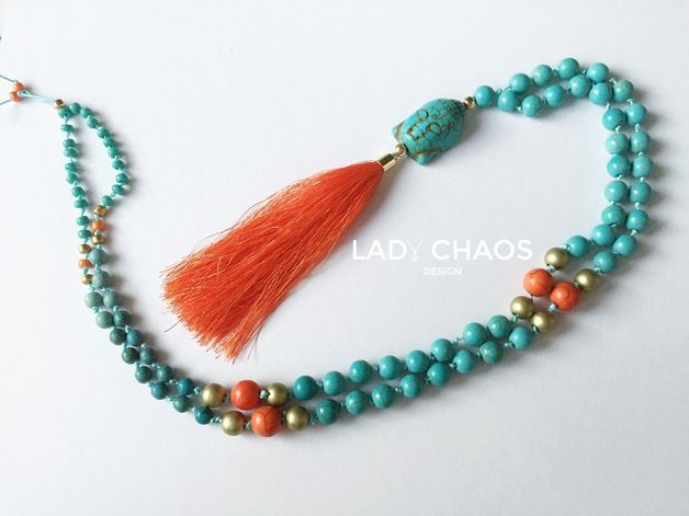 Ketten mittellang - Kette mit Quaste ★ Howlith ★ Buddha - ein Designerstück von lady_chaos bei DaWanda