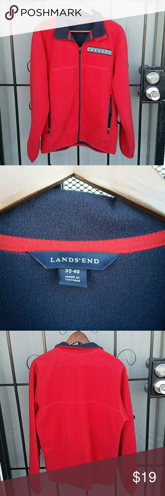 Lands End Soft Red fleece jacket *SALE In good condition Soft Red fleece has minimal wear consistent with pre-loved condition purple and teal motif .  please see pictures to confirm condition  two  Outer Pockets and two  Inner zip pockets size 38 to 40 Lands End Jackets & Coats