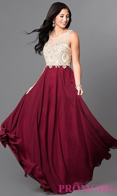 Formal Long Prom Dress with Lace-Applique Bodice