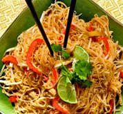 Easy Fried Rice Noodles with Chicken or Tofu