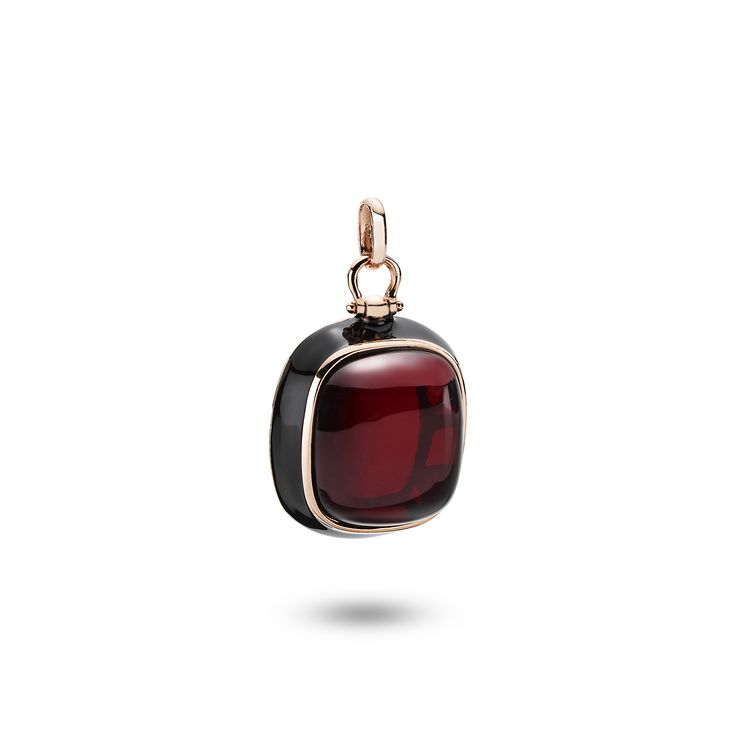 House of Amber - A fascinating pendant in rose gold sterling silver, black enamel, and cherry amber. The adorable pendant has a beautiful design and is a part of the Enlightened Enamel Collection.