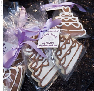 The Favors    Guests left with large iced sugar cookies in the shape of wedding cakes, courtesy of The Cookie Connection.