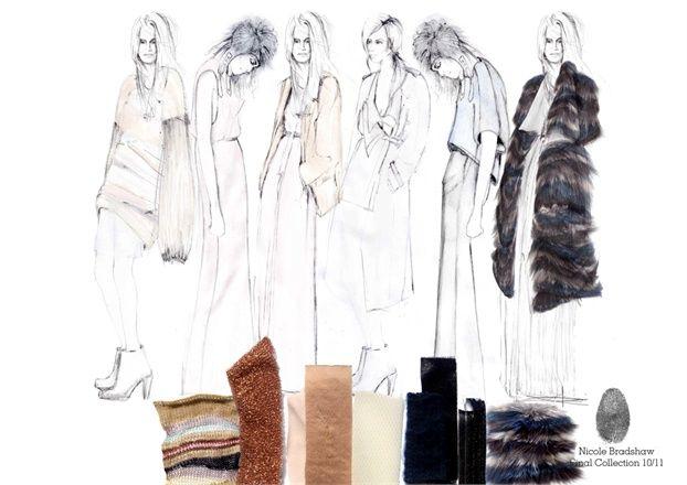 Fashion Sketchbook - fashion drawings & fabric samples - womenswear collection line up; fashion design; fashion portfolio // Nicole Bradshaw
