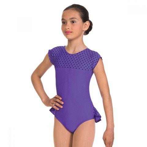 1st Position Purple Dotty Bum Frill Leotard dazzle-dancewear.co.uk ... e5f0bc260