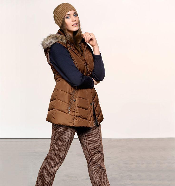 Exklusive Mode in Größen 42bis 64 von selection by Ulla Popken #exklusiv #damenmode #businessmode #plussize #elegant #style #fashion #cognac #weste #plussizestyle #steppweste