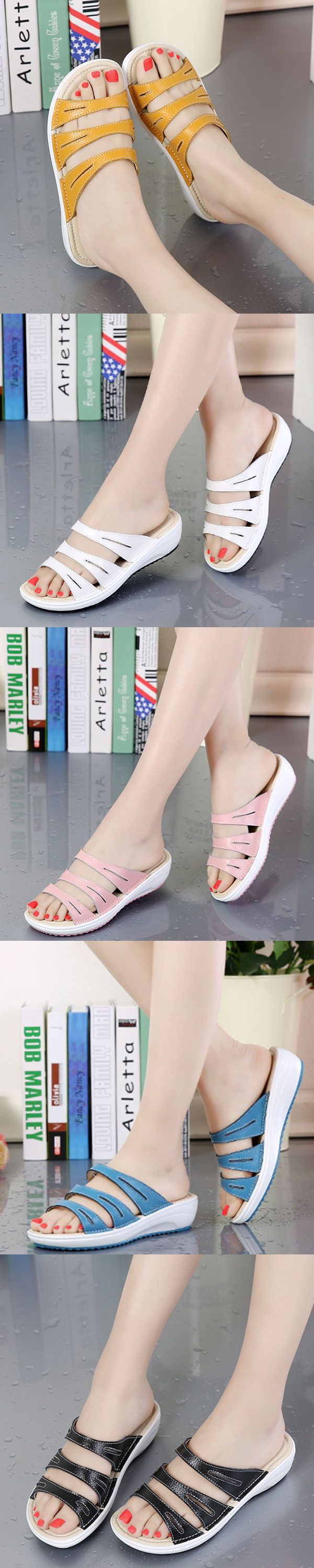US$20.99  Candy Color Leather Slip On Beach Flat Platform Sandals For Women