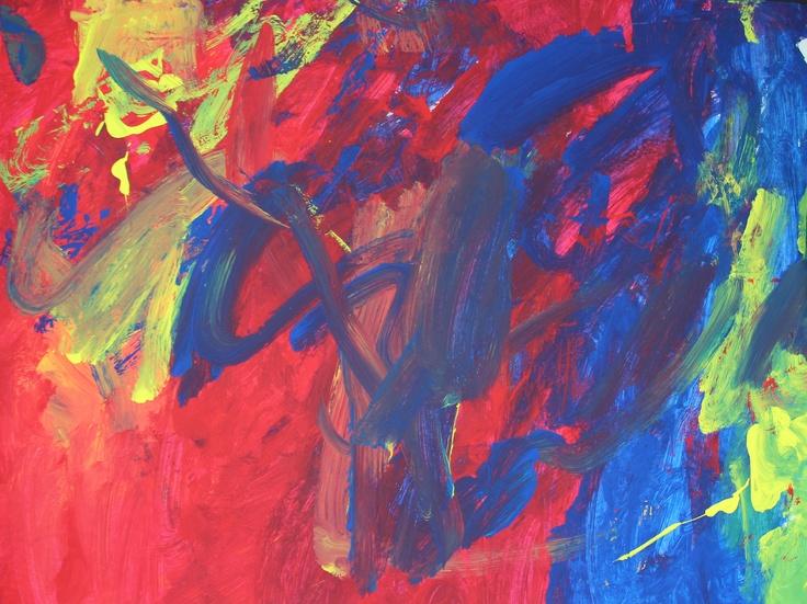 Amari, 3 - painting in preschool!
