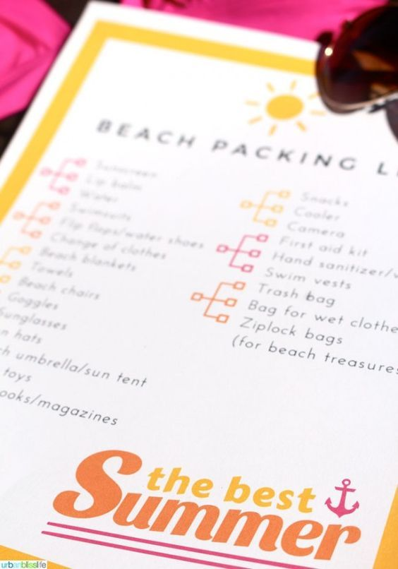 Free Printable Beach Vacation Packing List   Don't forget anything for your next trip to the beach!   See more printables on TodaysCreativeLife.com