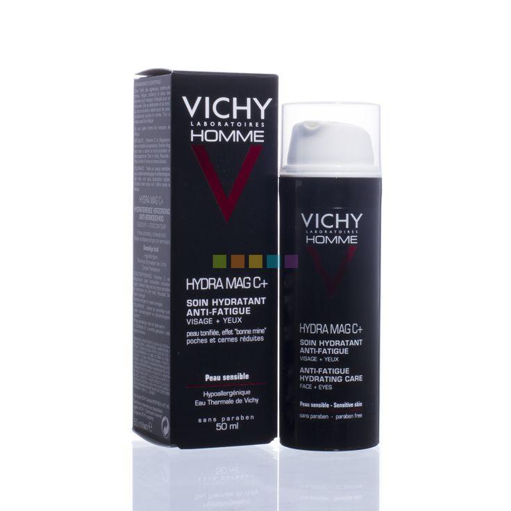 De 1e verzorging tegen vermoeidheid. Een 2-in-1 verzorging, geschikt voor gezicht en ogen, die de huid weer veerkrachtig maakt en tekenen van vermoeidheid vermindert. Je huid is weer veerkrachtig en gehydrateerd, en heeft met de dag meer weerstand. De tekenen van vermoeidheid zijn zichtbaar verminderd. Vichy Homme Hydra Mag C+ Dagcrème tegen Vermoeidheid is de oplossing voor elk drukbezette man! Ontdek het nu bij PharmaMarket!