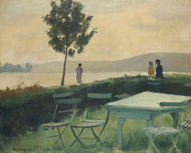 Albert Marquet (French, 1875-1947), Terrasse à Vieux-Port, c.1927. Oil on artist's board, 32.5 x 40.5 cm.