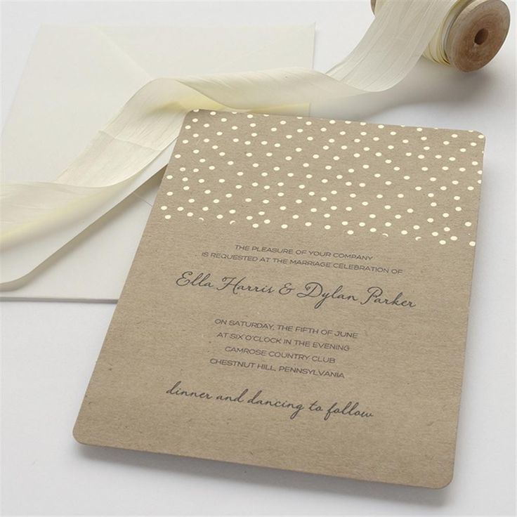 Gold Foil Dot on Kraft Wedding Invitation