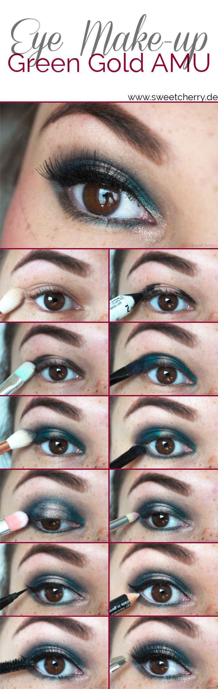 Step-by-Step Make-up Tutorial für ein Petroleum-Grün-Goldenes Augen-Make-up Geschminkt in zwölf Schritten.