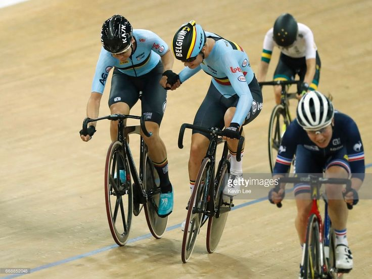 #TWC2017 Team of Belgium relay during Women's Madison Final on Day 4 in 2017 UCI Track Cycling World Championships at Hong Kong Velodrome on April 15, 2017 in Hong Kong, Hong Kong.