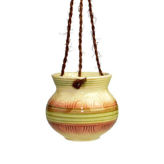 Hanging Planter Pot Ceramic Pottery With Sisal Cord Rope