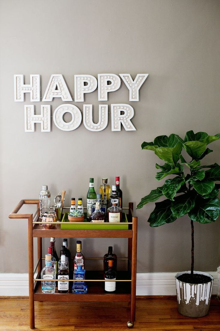 DIY Happy Hour Sign from A Beautiful Mess + Parker Mid-Century Bar Cart from west elm
