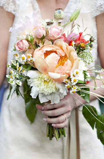 Peonies and wildflower bouquet|-Little House on the Prairie inspired #littlehouseontheprairiewedding