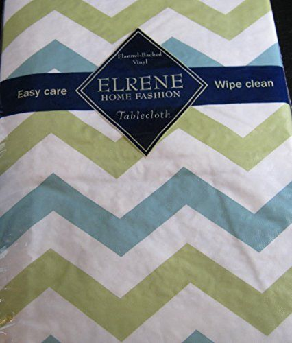 Flannel Backed Vinyl Tablecloths By Elrene  Light Blue And Light Green Zig  Zag  Assorted Sizes   Oblong And Round X 70 Oblong)