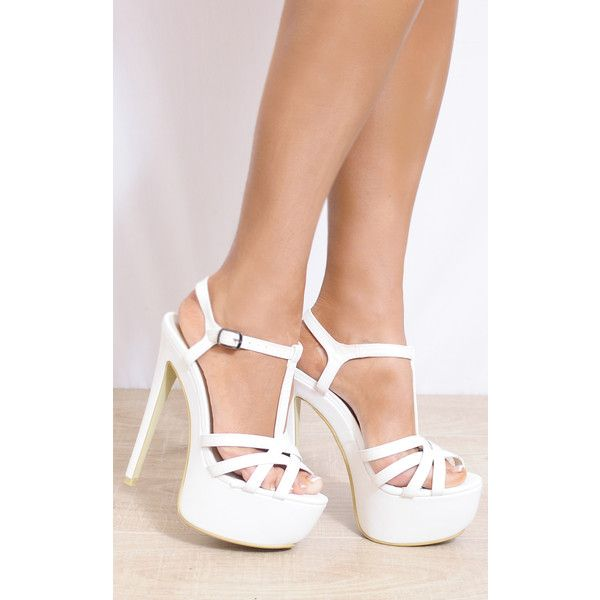 Shoe Closet White Ankle Straps Strappy Sandals Peep Toes High Heels ($46) ❤ liked on Polyvore featuring shoes, sandals, white, mid heel sandals, white platform shoes, white shoes, strap sandals and platform sandals
