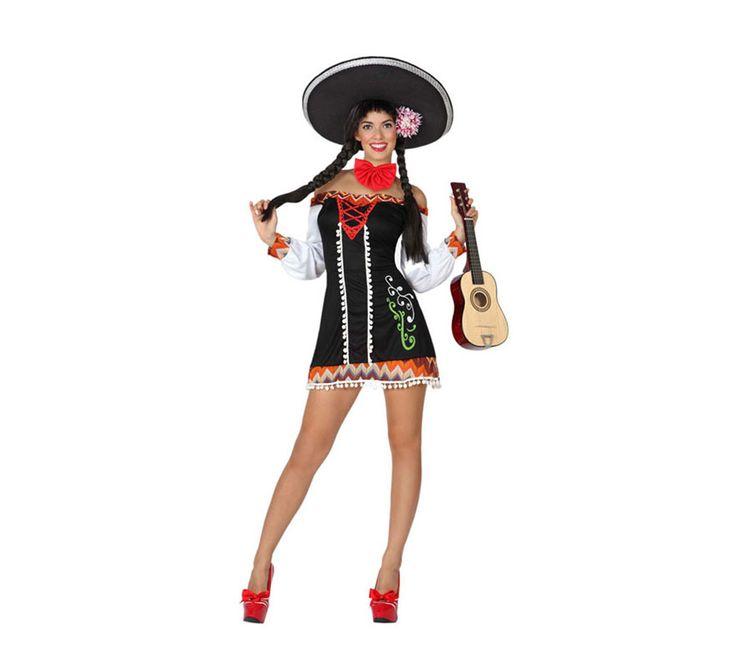 Disfraz de Mariachi Sexy para mujer. Disponible en varias tallas. Incluye vestido y pajarita. Sombrero, guitarra y zapatos NO incluidos. El sombrero Mejicano y la guitarra lo podrás ver en la sección de Complementos.