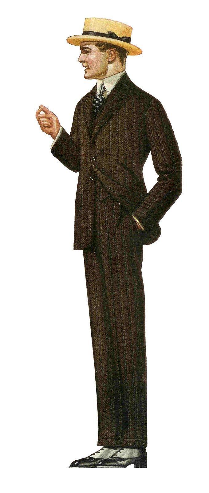 Edwardian men's suit fashion at vintagedancer.com
