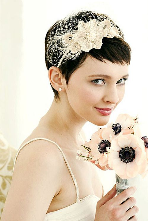 Bride with pixie haircut. Favorite. Soft natural makeup, simple studs, killer crochet headband :3